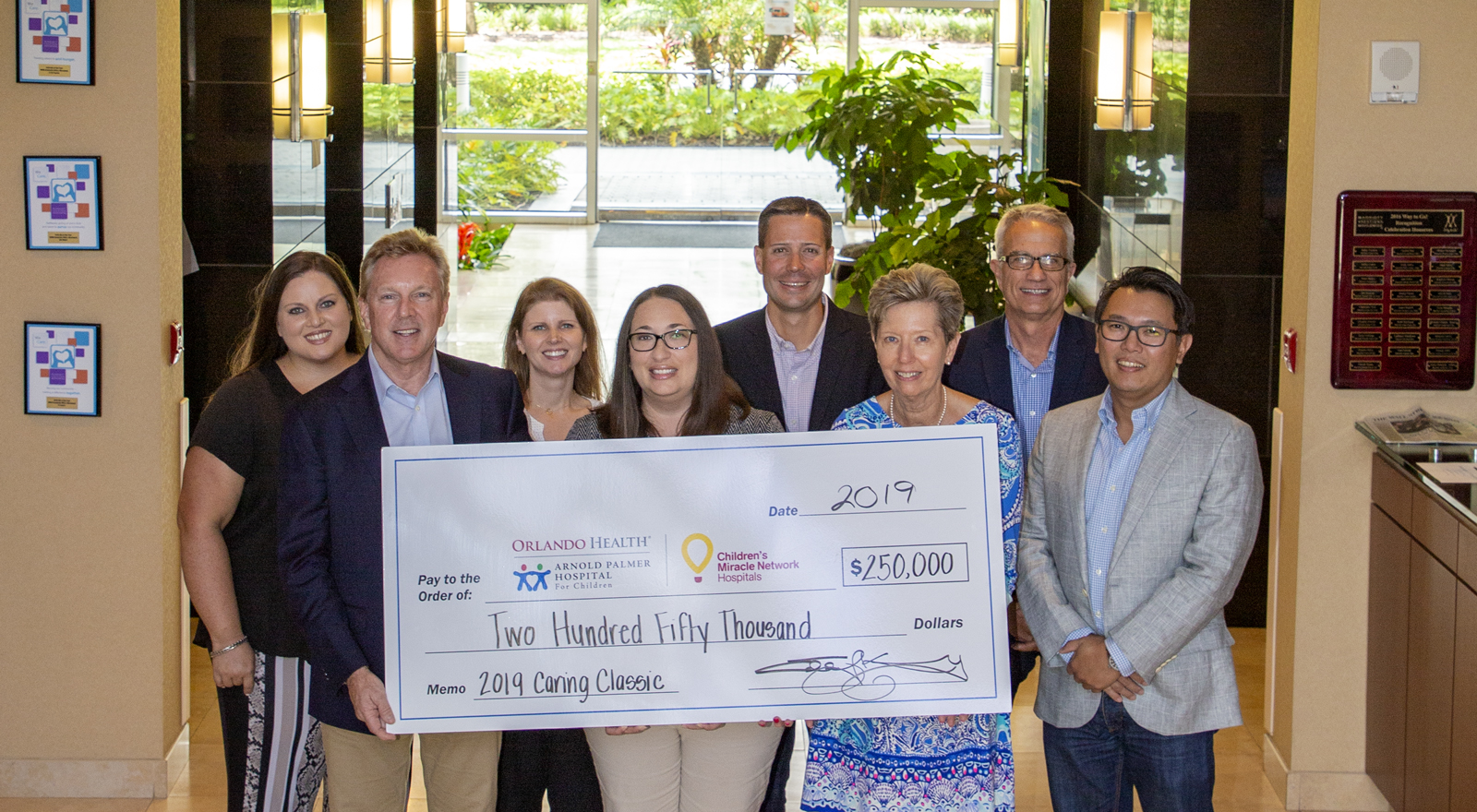 $250,000 donation check to children's miracle network hospital